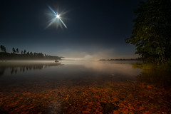 September night II (Tore Thiis Fjeld) Tags: sky mist lake color nature water oslo norway night clouds forest nikon nightshot horizon fullmoon le maridalen maridalsvannet samyang14mm28