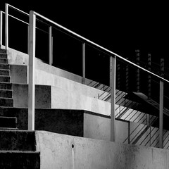 Staircase in contrast (kevin dooley) Tags: bw white black art museum architecture stairs contrast high ar crystal low bridges monotone staircase american resolution arkansas bentonville tonal