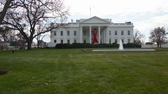 World AIDS Day - Red Ribbon on the White House Portico 33924