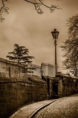 Dun Cow Lane, Durham City. (CWhatPhotos) Tags: pictures street camera city uk trees england tree lamp wall sepia canon fe