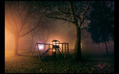(Lilith Ecate) Tags: park parque trees light parco tree luz grass misty fog alberi night arbol lights luces noche arboles luci nebbia albero tronco prato niebla notte lampioni rami giochi hierba columpio ramas scivolo altalena faroles