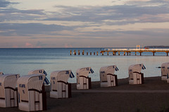 A Day At The Beach Restores The Soul... (akal_flickr) Tags: bridge sunset sea beach chair baltic niendorf innamoramento