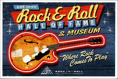 postcard - from mandeefranee, USA (Jassy-50) Tags: ohio museum neon guitar postcard cleveland postcrossing rockroll musicalinstrument damaged rockrollhalloffame