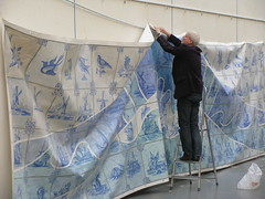 Delft Blue (streamer020nl) Tags: blue art hospital painting stencil kunst delft exhibition canvas fz acryl kaagman tentoonstelling 2014 removing verwijderen flevoziekenhuis resink