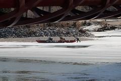 bridge winter calgary river boat peace bow