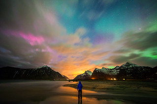 Impression, Aurora | Skagsanden Beach, Lofoten, Norway