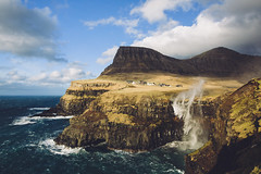 Gásadalur waterfall (dataichi) Tags: faroe faroeislands féroé atlantic north landscape nature travel tourism outdoors mountains village ocean shore coast cliff wind windy waterfall