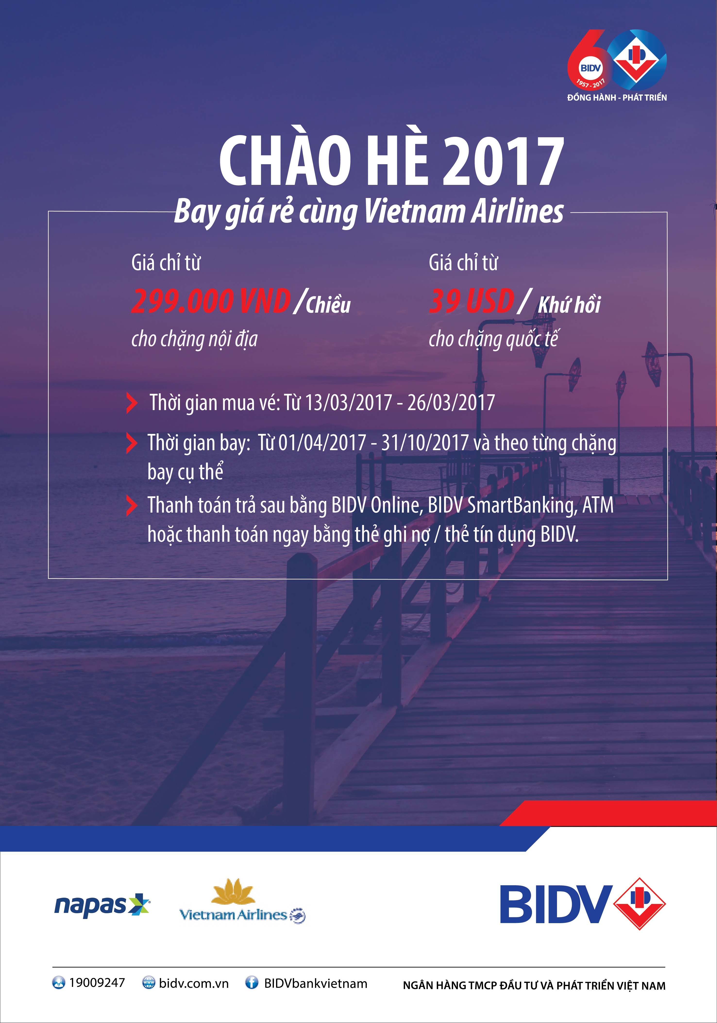 BIDV: Chào hè 2017 - Bay giá rẻ cùng Vietnam Airlines
