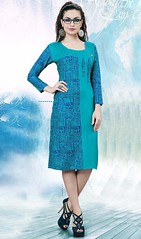 Blue Color Shaded Poly Cotton Tunic