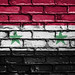 National Flag of Syria on a Brick Wall