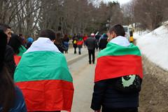 (mighty_pandaa) Tags: bulgarian bulgaria flag crowd people mountain flags celebration monument shipka national candid winter snow