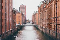 Speicherstadt (freyavev) Tags: hamburg germany deutschland water channel rainy brick brickbuilding bridge redbuildings cityscape 50mm vsco mikasniftyfifty niftyfifty urban urbandetails