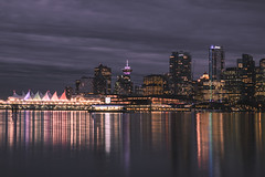 Vancouver skyline (Adam Klekotka) Tags: vancouver vancity britishcolumbia bc skyline city cityscape urban canadaplace building buildings canada night nightscape nightphoto longtime longexposure view travel skyscraper skyscrapers architecture reflection reflections port water