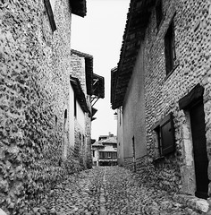 Alley in Small & Old Village (2) (Purple Field) Tags: street bw france 120 6x6 tlr film monochrome analog rolleiflex square alley kodak trix 400tx medium   f28  kreuznach 80mm  perouges   28f xenotar        schneder x