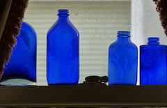 cobalt blue bottles in the window 4-13 (nolehace) Tags: sanfrancisco blue window spring bottle cobalt 413 nolehace fz35