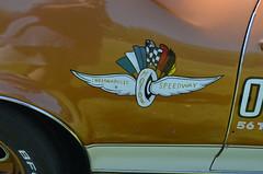 Flying Wheel (earthdog) Tags: car word logo nikon badge pleasanton carshow oldsmobile indy500 442 indianapolis500 2013 afsdxvrzoomnikkor1855mmf3556g d5100 nikond5100 hurstoldspacecar72