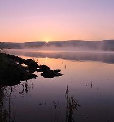IMG_1170 (Missy Jussy) Tags: england sky plants sunlight mist water sunrise canon reflections landscape lancashire rochdale hollingworthlake britishsummertime