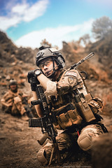Watching, waiting (Suryo Pras) Tags: war gun mood order military profile atmosphere down conceptual client tone officer surrender airsoft