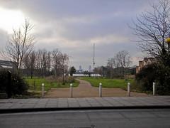 Grove Road (Gary Kinsman) Tags: 2005 park london tower skyline clouds skyscraper grey overcast bow e3 millenniumpark mileend gherkin 30stmaryaxe tower42 cityoflondon eastend eastlondon groveroad