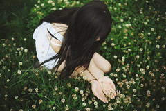 Gathering Wildflowers (Amanda Mabel) Tags: summer portrait plants nature grass japan canon hokkaido sister overalls faceless wildflowers brunette flowerfield amandamabel 5dmark3