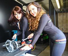 Mechanics (Kevin Hughes 348) Tags: england women cheshire engine motorcycles kawasaki mechanics promotions spanners gridgirls oultonpark glamourmodels britishsuperbikechampionship kevinhughes mygearandme