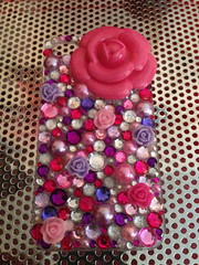 Iphone 4/4s -Pink & Violet Flower (Cutie Creations) Tags: pink cute floral purple girly homemade kawaii bling custom deco rhinestones iphone phonecase iphone4 decoden decofun decocase