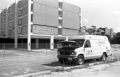 Overheated News Truck - Purple Hotel (Fogel's Focus) Tags: illinois demolition 150 rodinal lincolnwood wreckingball summaron fomapan100 agfarodinal 8min purplehotel leicam4p 35cm fomafomapan film:iso=100 film:brand=foma developer:brand=agfa developer:name=agfarodinal film:name=fomafomapan100 filmdev:recipe=8867