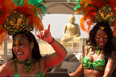 SAMBA AT THE BLUE LAGOON. (oewimmie) Tags: carnival ladies girls music beach smile rio brasil strand drums dance women colorful boulevard legs scheveningen feathers trumpet exotic carnaval rite bluelagoon moves 2013