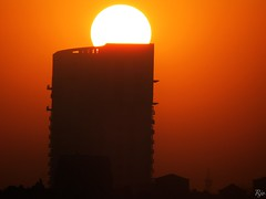 1IMG_3490 SUN RISING OUT OF A BUILDING IN NOIDA INDIA (Rajeev India (THANKS for views, comments n faves)) Tags: sun noida india building out rising in a of