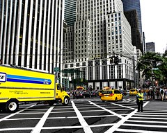 Criss Cross lanes (RahulSharma©) Tags: nyc people usa newyork love apple yellow statue america buildings spectacular liberty big skyscrapers manhattan taxi awesome police fresh newyorker crown cabs officer inc lanes criscross