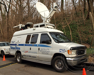 Village Video Satellite Truck, Deadly Metro-North Passenger Train Derailment near the Spuyten Duyvil Station in the Bronx, New York City