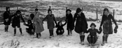 Brackenhill School 1941 (theirhistory) Tags: boy girl child snow england coat hat wellies field ground primary junior uk gb class form school pupils students education
