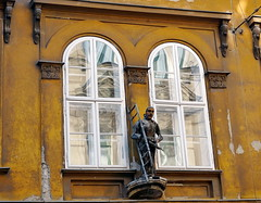 The Chimney Sweep House. Explored #120 (elinor04 thanks for 36,000,000+ views!) Tags: house reflection building window statue architecture facade hungary decay budapest explore architect neoclassical sculpt chimneysweep onexplore hild józsefváros explored károly tradesign hildkároly