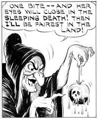 one bite - and her eyes will close in the sleeping death! (Tom Simpson) Tags: illustration vintage comics newspaper 1930s 1938 disney comicstrip poison weekly snowwhite waltdisney snowwhiteandthesevendwarfs evilqueen poisonapple newspapercomics hankporter