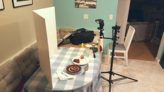Behind The Scenes With A Tart (Max Johnson) Tags: lighting food fruit pie table dessert photography berry berries flash setup tart behindthescenes reflector strobe sortof foamcore lightstand offcamera vflat bhts