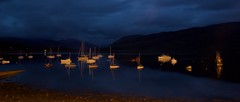 Ullapool harbour way after sundown (dmunro100) Tags: longexposure sea mountains night boats scotland boat dusk habour ullapool