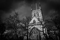 Southwark Cathedral, London - BW (King Grecko) Tags: 2470f28 5dmk3 architecture bw cathedral christianity church cloudsky england london londonengland outdoors religion sky tourism travel traveldestinations uk black blackandwhite canon canoneos5dmk3 cathederal clouds contrast drama dramatic eos5dmk3 europe history landmark lightroom spire