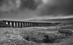 Cloud Cover! (Explored 06/03/17) (dazzbo1) Tags: mono blackwhite landscape viaduct bridge snow hill peak cloud mist bleak yorkshire ribblehead dales uk england whernside mountain train railway rain weather atmospheric hike walk sky trek trail ngc