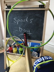 A Chalkboard Set Up for a School Sports Day (itnmarkeducation) Tags: chalk chalkboard school lesson sports sportsday hulahoop tennisracket cricketbat pe