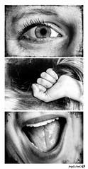 Youpiiiie (version finale) (AngelsPixel) Tags: triptyque monochrome blackwhite blackandwhite noirblanc noiretblanc noir blanc black white joie fete content heureux party happy joy happiness oeil yeux bouche main eye hand mouth dent teeth levre lip langue tongue cheveu hair