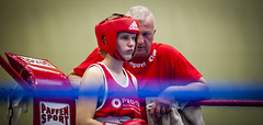 The Coach (madmtbmax) Tags: sport sports boxer boxing young athlete coach trainer corner ring match kampf wettkampf junior youth sportlerin red blue ribbon protection helmet preparation preparing mental coaching look glance eyes fearless bsc dachau immenstadt