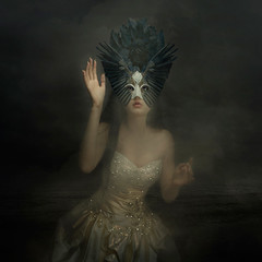 Salute to the night ('_ellen_') Tags: wings headpiece head piece woman night dark salute