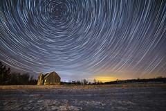 Record Scratches (Matt Molloy) Tags: mattmolloy timelapse photography timestack photostack movement motion night sky stars trails lines circles airplanes barn snow field trees violet ontario canada landscape lovelife