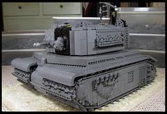 She progresses a bit more (Karf Oohlu) Tags: lego moc wip afv tank tracks turret crane machinegun