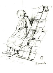 Anton Pieck- Bemin dan Amsterdam, 1948 ill  Damrak kranverkoopster (janwillemsen) Tags: antonpieck amsterdam bookillustration 19451948