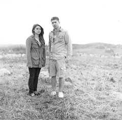 marie & john (Mostly Midwest Photography) Tags: portrait bw male 120 mamiya film female analog mediumformat twins tmax sister brother michigan siblings scan 400 handprocessed ironmountain c330 milliehill