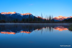 Reflecting Blues with a kiss of gold (JA Photography - Be There, Out There) Tags: mountain canada reflection sunrise alberta banffnationalpark vermillionlakes jamesanderson vermilionlake mountainreflections japhotography jamesa1 reflectingmountains pathfinderblues 888pathfinder 818pathfinder