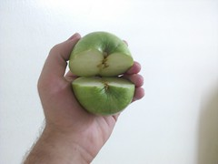 Green AppleShell-Seashell (Ahmed AlHallak) Tags: 2 green apple mouth stem hand with jaw seeds half seashell connected sliced stalk   crosswise     appleshell