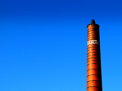 Old Preston Cotton Mill (Tony Worrall Foto) Tags: blue red chimney sky urban building brick tower mill architecture work fire words call northwest notice grim centre letters north lancashire nostalgia cotton preston tall ashton past relic olden lancs carphonewarehouse tulketh tulkethmill 2013tonyworrall prestoncottonmill