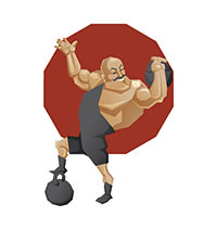 new on stock (Jera_RS) Tags: man male smile smiling sport illustration training vintage tricot big artist oldstyle power lift muscle muscular character cartoon bald bodybuilding retro sharp nostalgia edge acting rod strong geometrical mustache build athlete performer mighty weigh vector barbell leotard maillot strenght strongman dumbbell crossbar baldheaded plusflickr weighlift